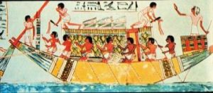 Painting of Egyptian Papyrus Boat