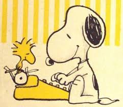 Snoopy Types While Woodstock Watches